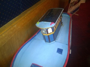 Front view of model boat