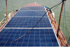 Solar panels fitted atop the wheelhouse.